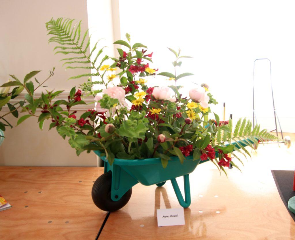 Anne Howall used a mini wheelbarrow for her exhibit.