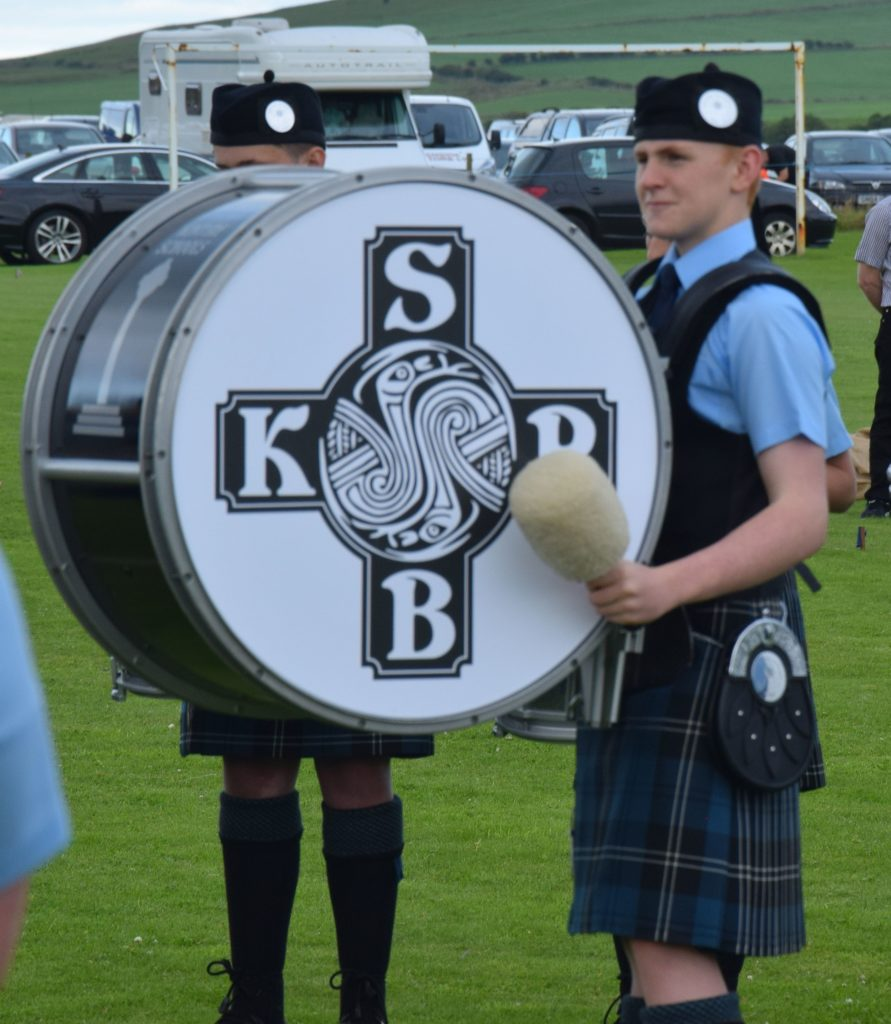 Euan Charlwood beat a steady rhythm on the big drum.