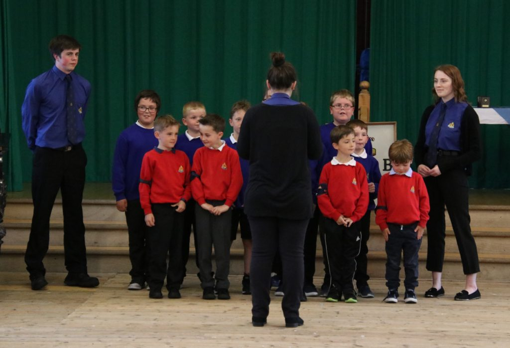 Boys preparing to sing.