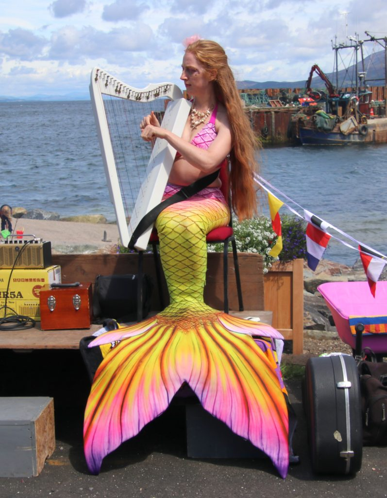The musical mermaid played the harp during the day.