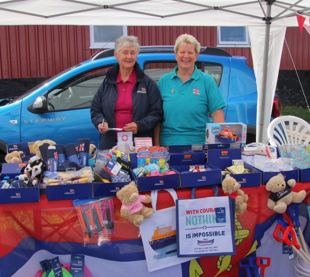 Hilary Lord and Marjorie Leighton manned the RNLI fundraising stall.