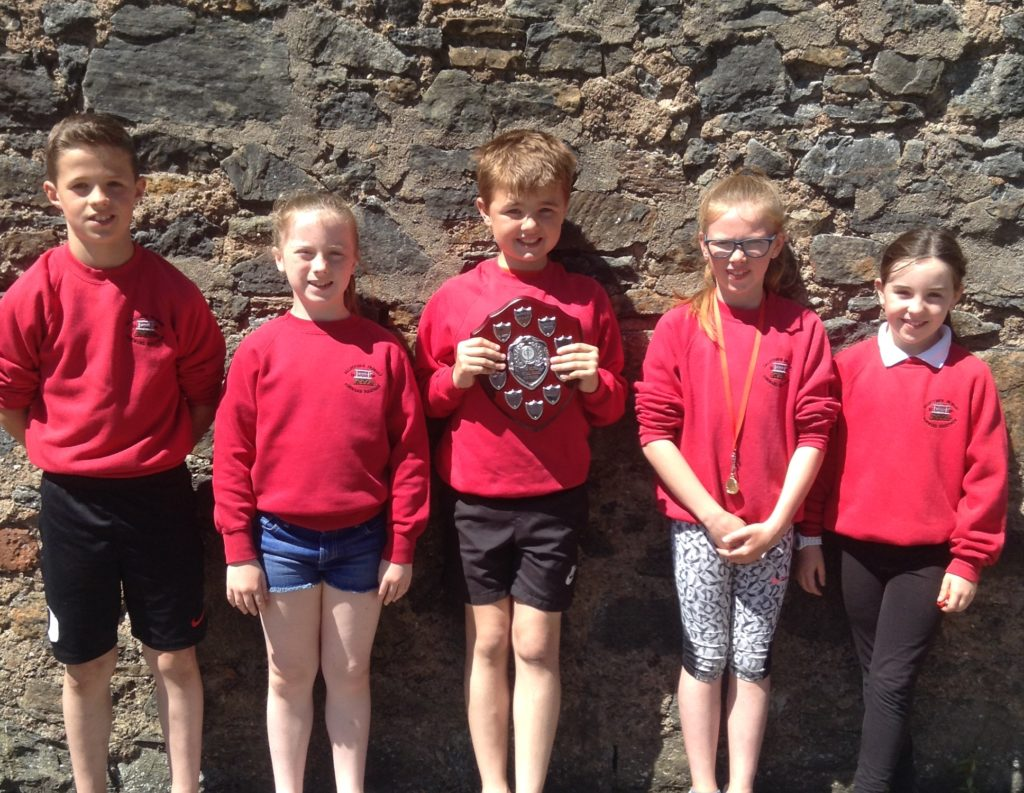 P4 and P5 inter-schools Virtual Games winners, Dalintober's Jack Green, Ellie Gorman, Liam Judge, Ayla Campbell and Cara MacPherson.
