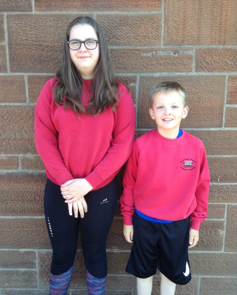 Hector MacNeill Quaich for story writing runners-up, Natasha Tiffin and Fraser Lines.