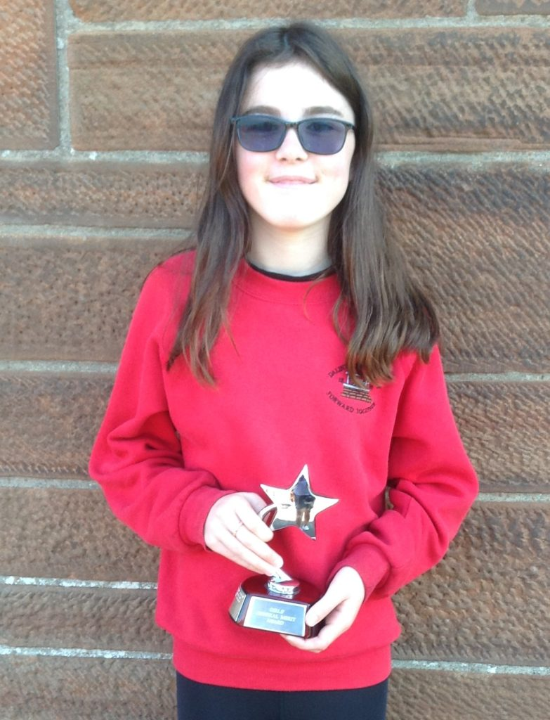 P7 Merit (Dux) Prize for girls runner up, Rianne Coffield.