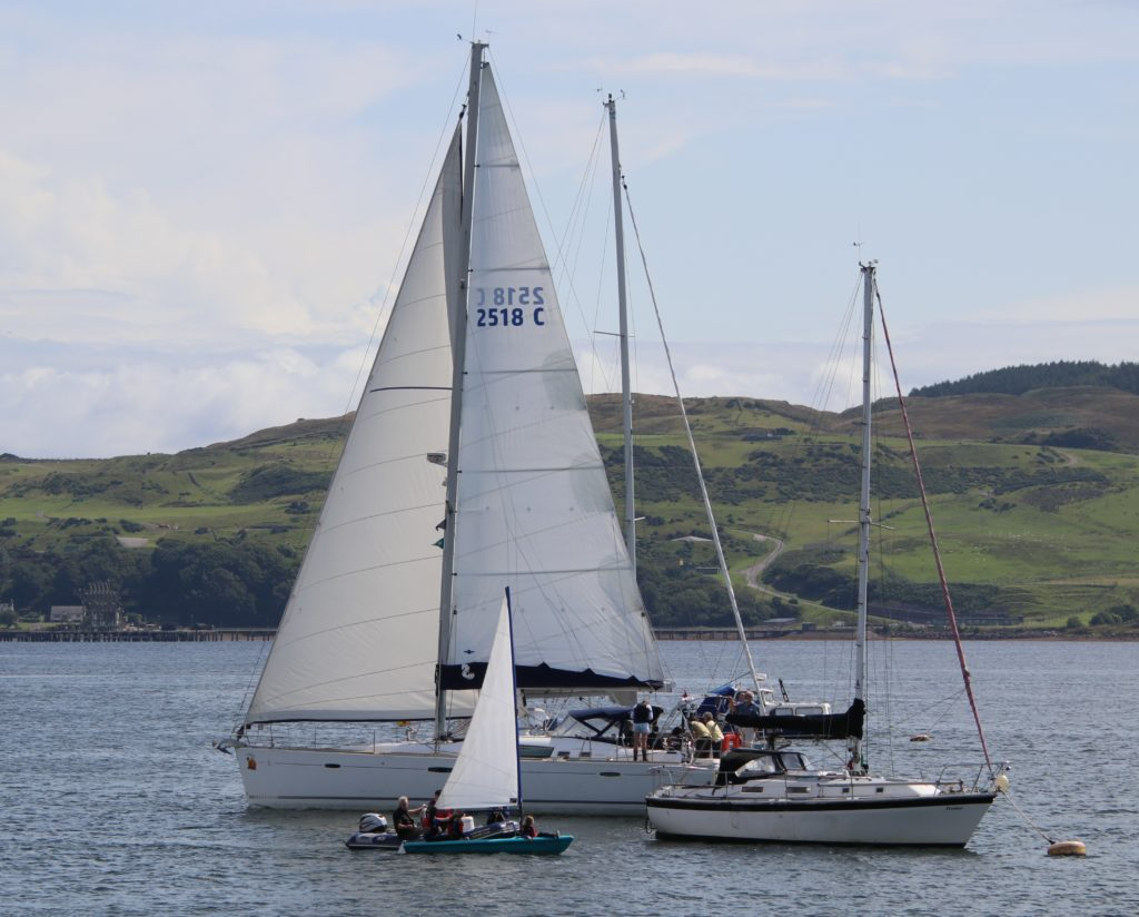 There were boats of varying sizes on Campbeltown Loch.