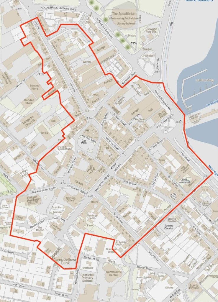 The red line shows the the designated grant area around Campbeltown's town centre.