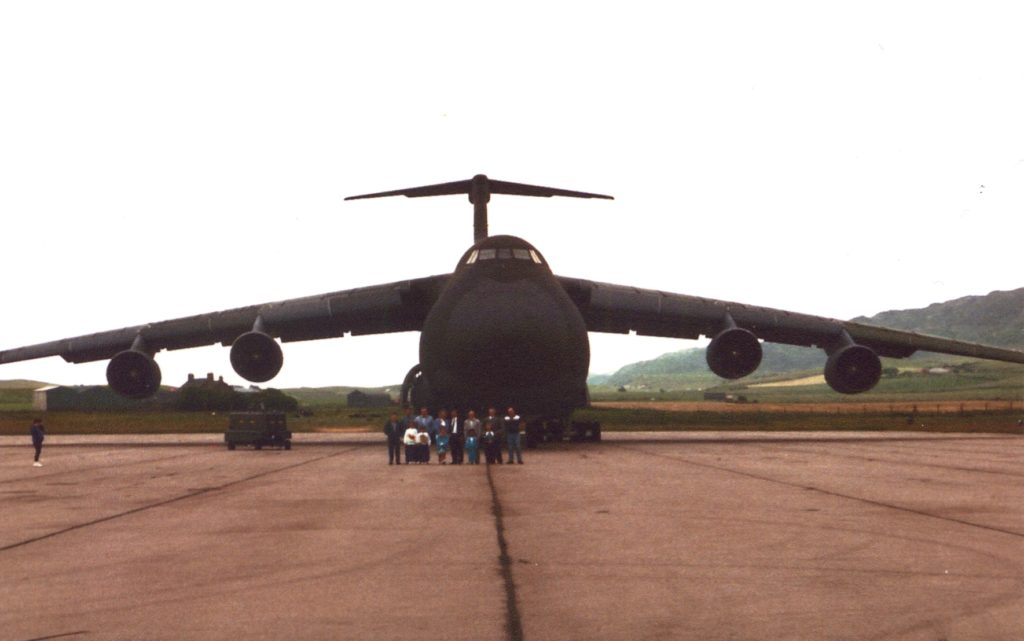 A US Galaxy aircraft, a sight visitor during the Americans' time at RAF Machrihanish.
