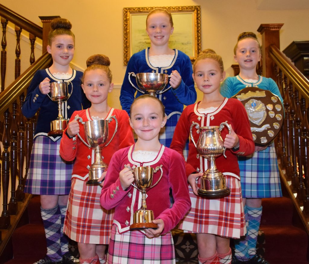 Junior dancers from James McCorkinsale's School of Dance with their silverware. Back row, from left: Sophie Galbraith, Emma Millar and Ellie Gorman. Middle row: Korri McMillan and Taylor McMillan. Front: Emma Johnston.