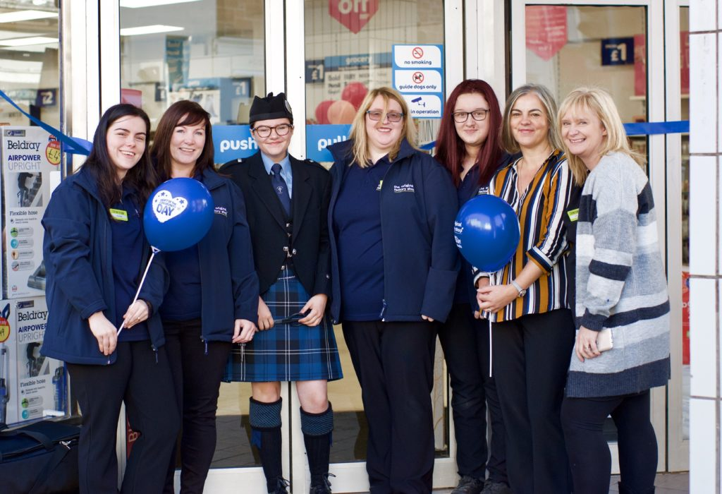 Staff at the official reopening, from left: Jessie-May Dewar, Michelle MacMillan, KSPB member Shanna Brown who cut the ribbon, Mhairi Craig, Caitlyn Spree, Tracey Muscroft and Marie Mckerral.