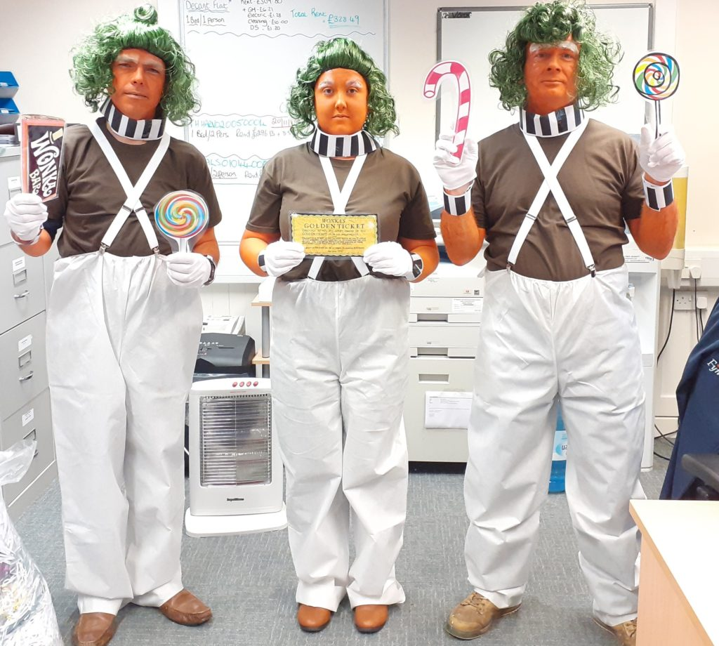 The Campbeltown team of Oompa Loompas.