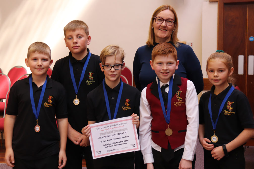 The third placed junior ensemble, Campbeltown Brass C's James Barr, Ben Cunningham, Gregor Craig, Charlie Colville and Taylor McMillan.