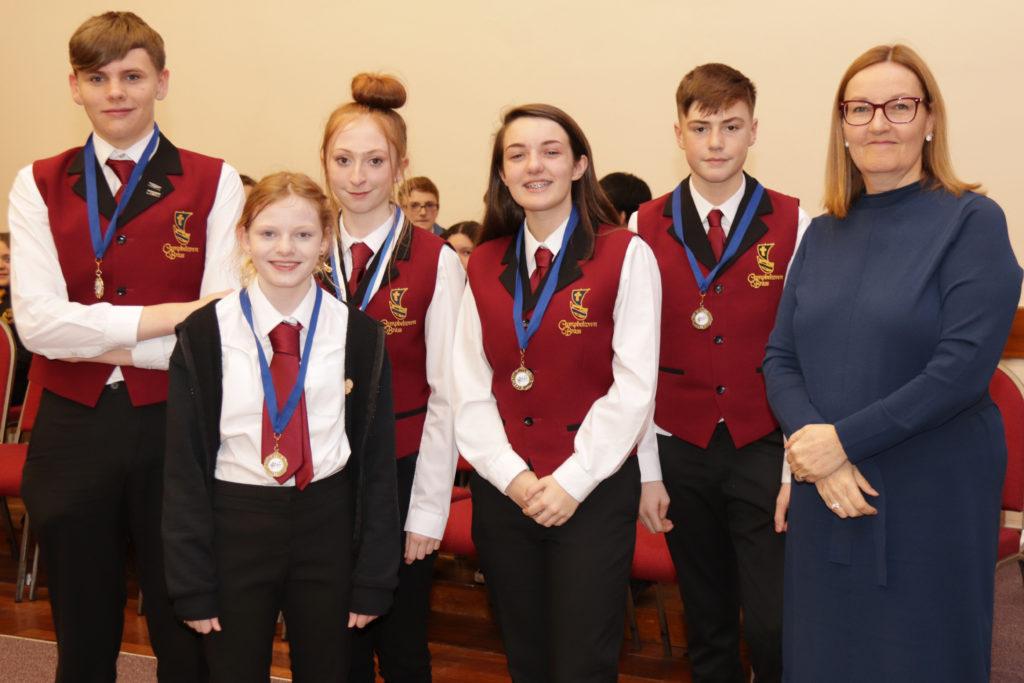 The third placed intermediate ensemble, Campbeltown Brass C's Drew Cunningham, Hannah McCaig, Emily Bennie, Beth McPherson and Liam Bennie.