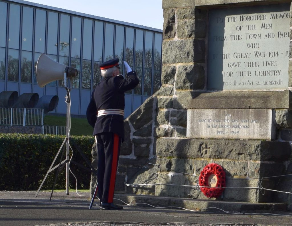 In his final Remembrance Day service before retirement, the Lord-Lieutenant of Argyll and Bute, Patrick Stewart, salutes Campbeltown War Memorial after laying a wreath.
