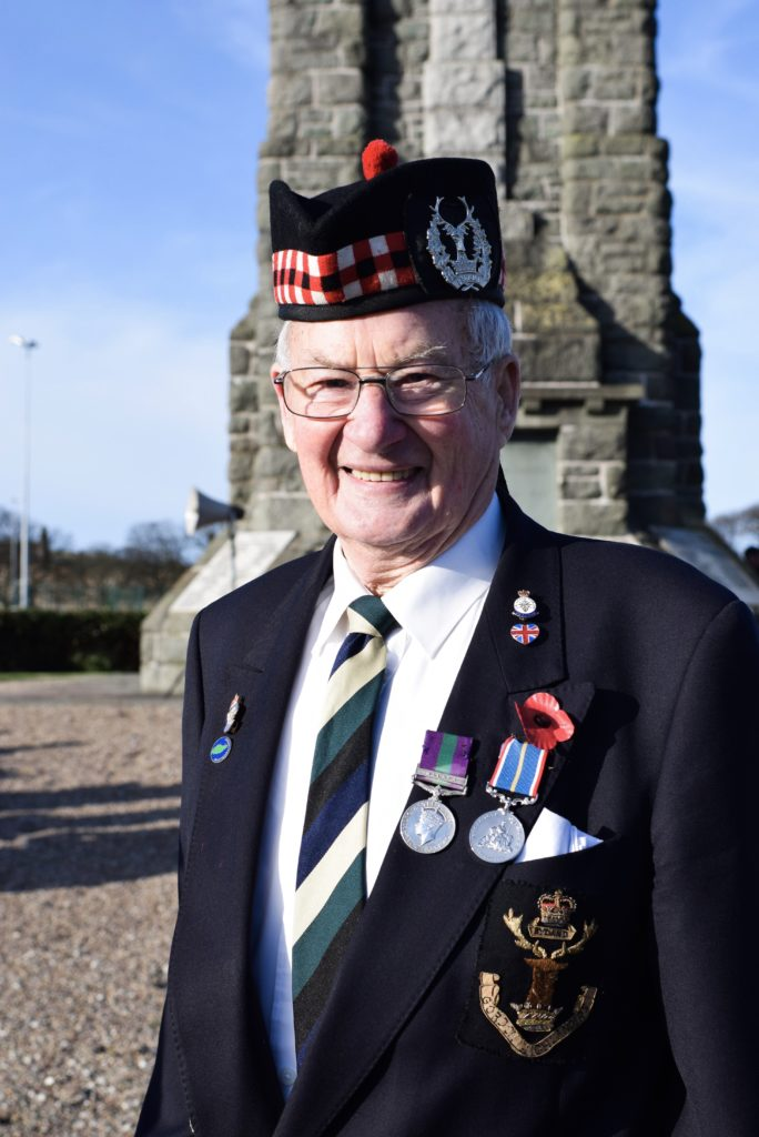 Willie McMillan, Gordon Highlanders, was one of those at the service at Campbeltown War Memorial on Sunday.