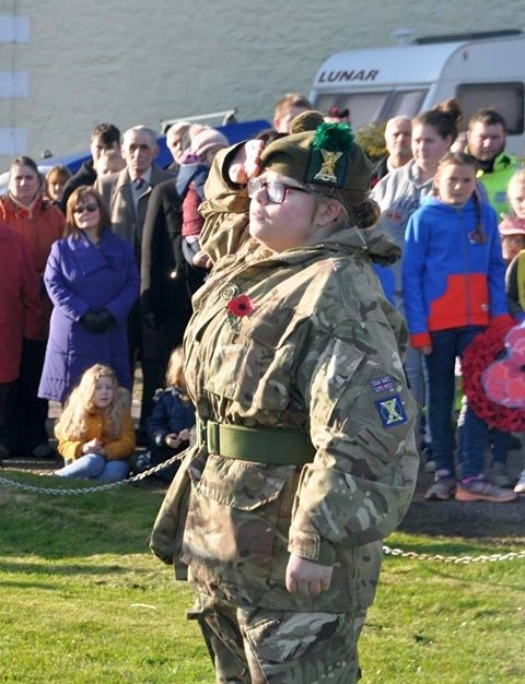 Lance corporal McNeill Tarbert Detachment Cadets after laying her wreath at the war memorial in Tarbert.