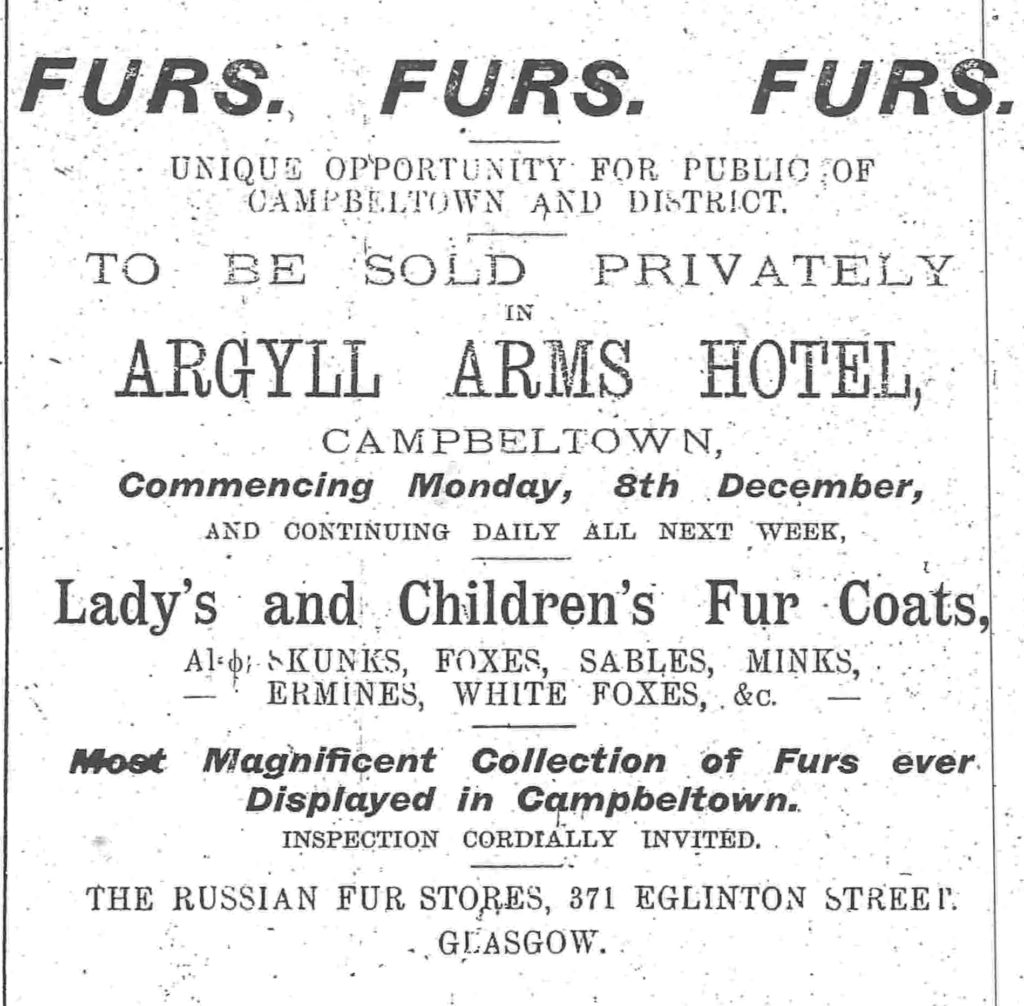 An advert for a fur sale in the Courier in 1919.