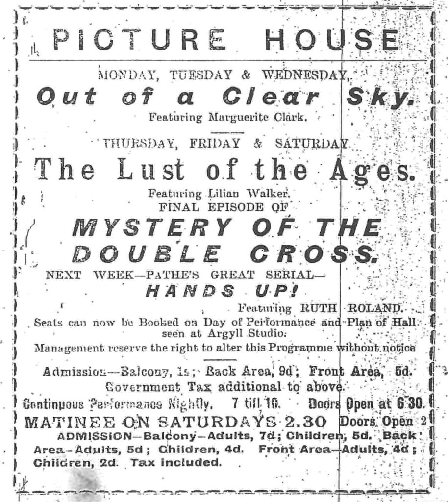 Campbeltown Picture House, which continues to advertise its listings in the Courier today, was showing The Lust of the Ages in December 1919.