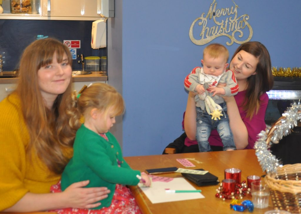 Visitors to Kintyre Care Home, including Clare Lamont with her daughter, Rosie, and Tracey Lamont with her son, Thomas, took advantage of crafts which were on offer.