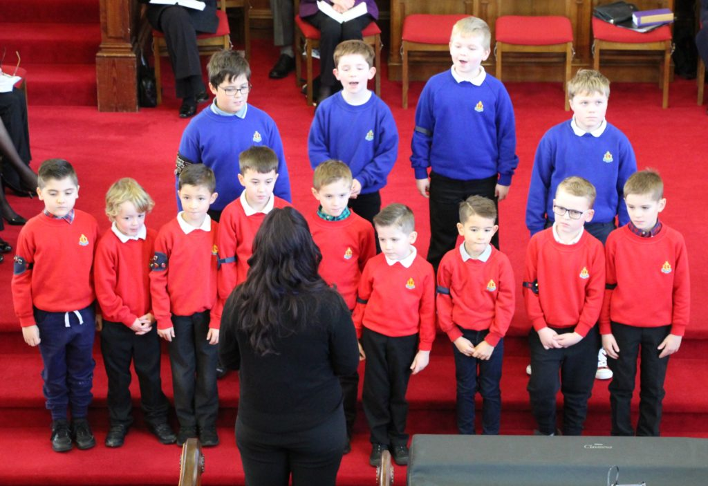 The Boys' Brigade sang at the Lorne and Lowland Church's nativity service.