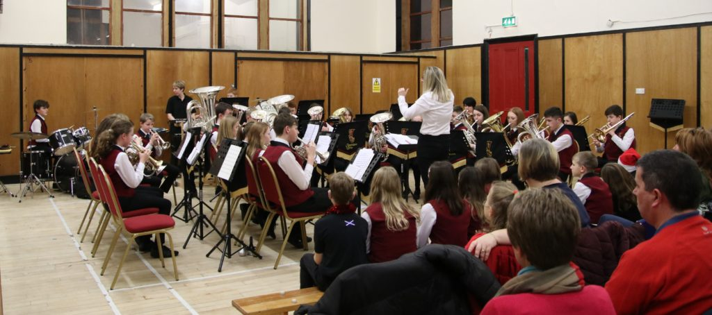 Members of all bands performed at the band's recent Christmas concert.