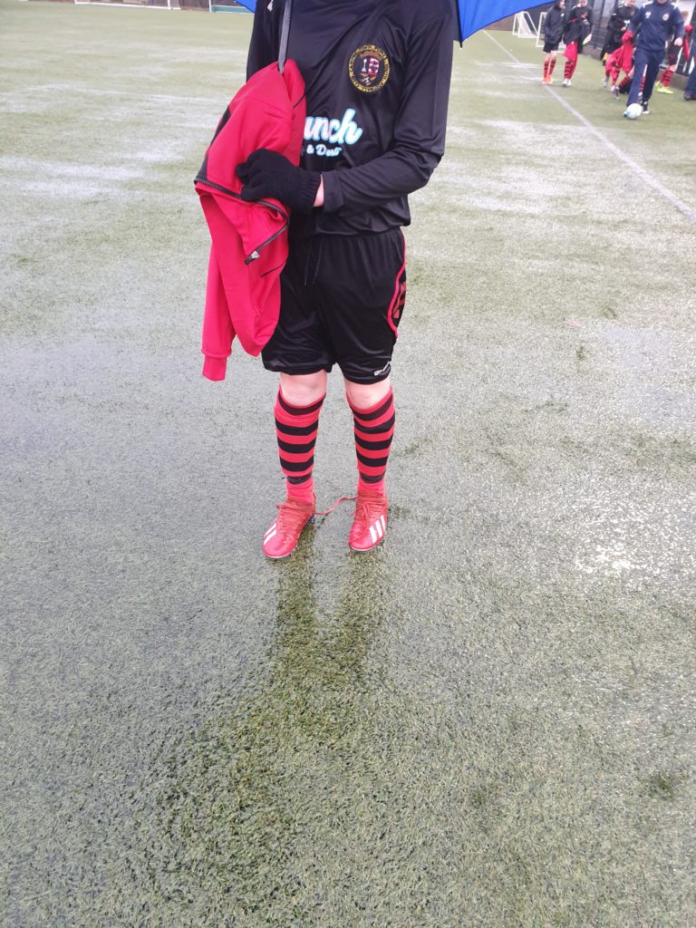 The all weather pitch proved that it wasn't playable in all weathers and was defeated by the rain.