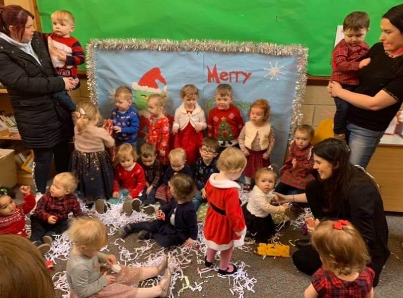 The infants who attended Kintyre Toy Library's Christmas party.