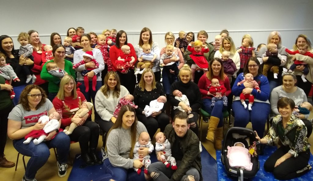 The parents and babies who attended the annual Christmas party for Kintyre babies born during 2019, hosted by Campbeltown midwives.