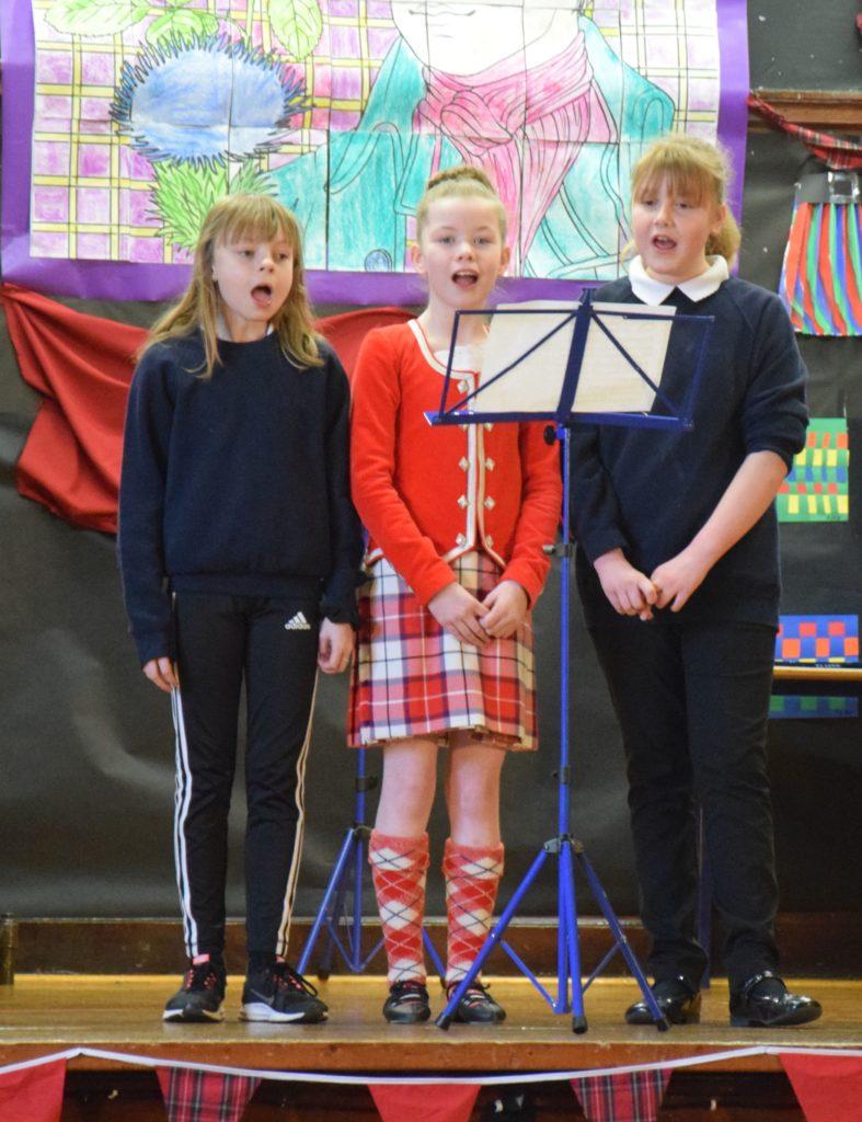 Gemma, Freya and Emma were in fine voice.