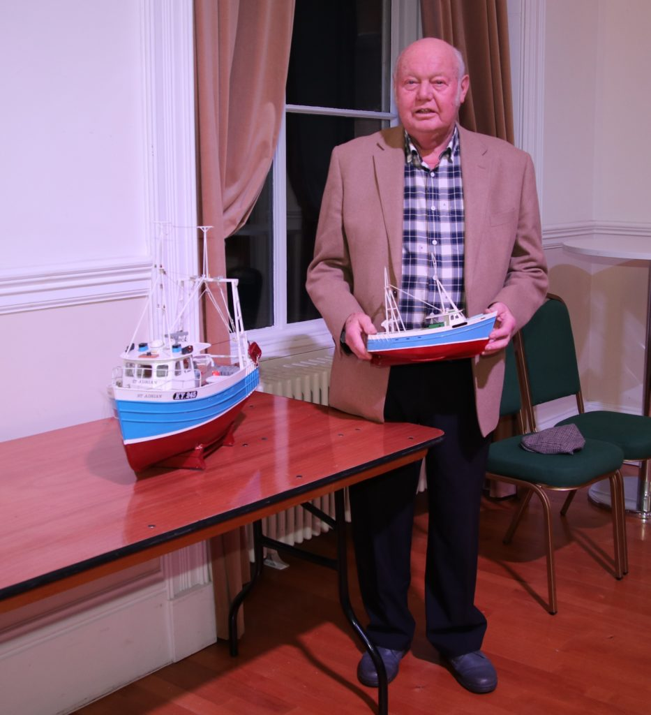 David Tod with models of his boat, St Adrian, the first one ordered from the Yard. Photograph: Kenny Craig.