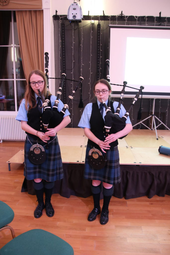 Pipers Catrina Newman (left) and Erin Cameron. Photograph: Kenny Craig.