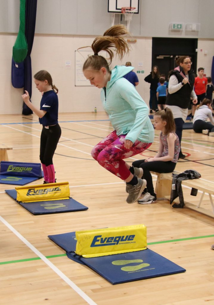 Hannah Gilchrist taking part in the speed bounce.