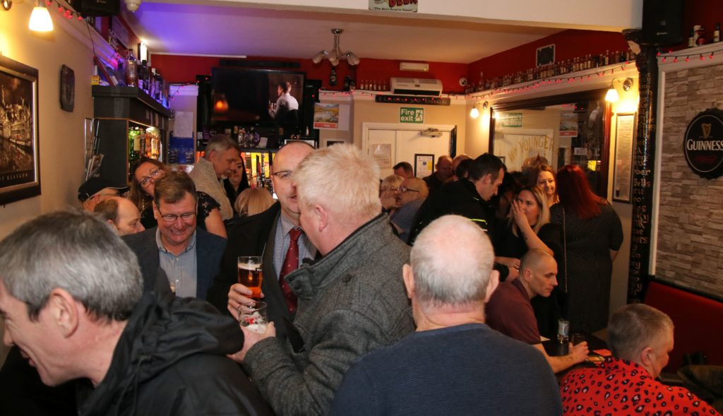 The Ailsa Bar was packed all evening.