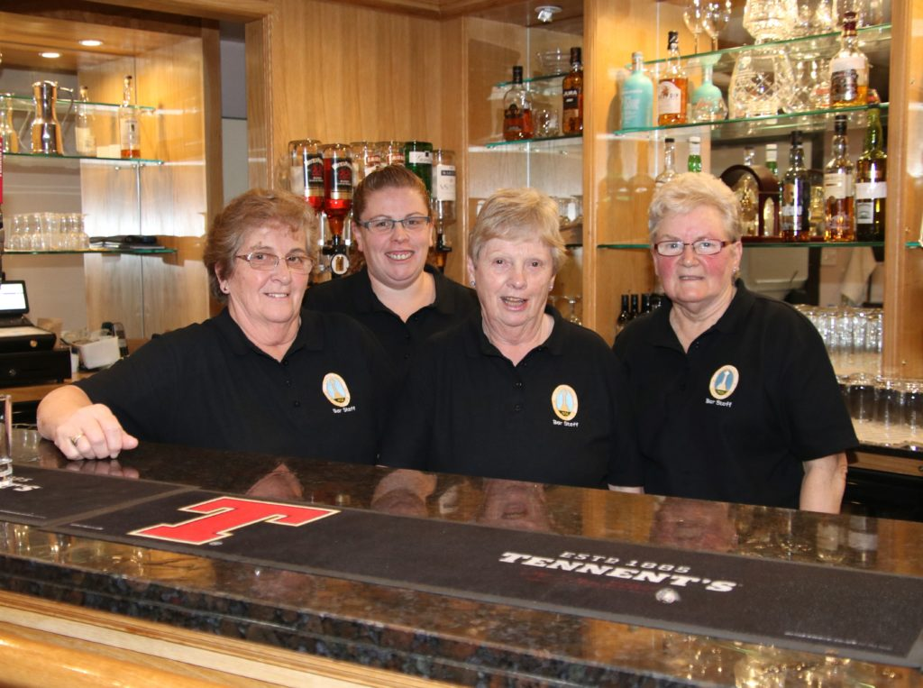 Working hard behind the bar all evening were, from left: Jessie Andrew, Susan Gilchrist, Jean Miller and Catherine McEachran.