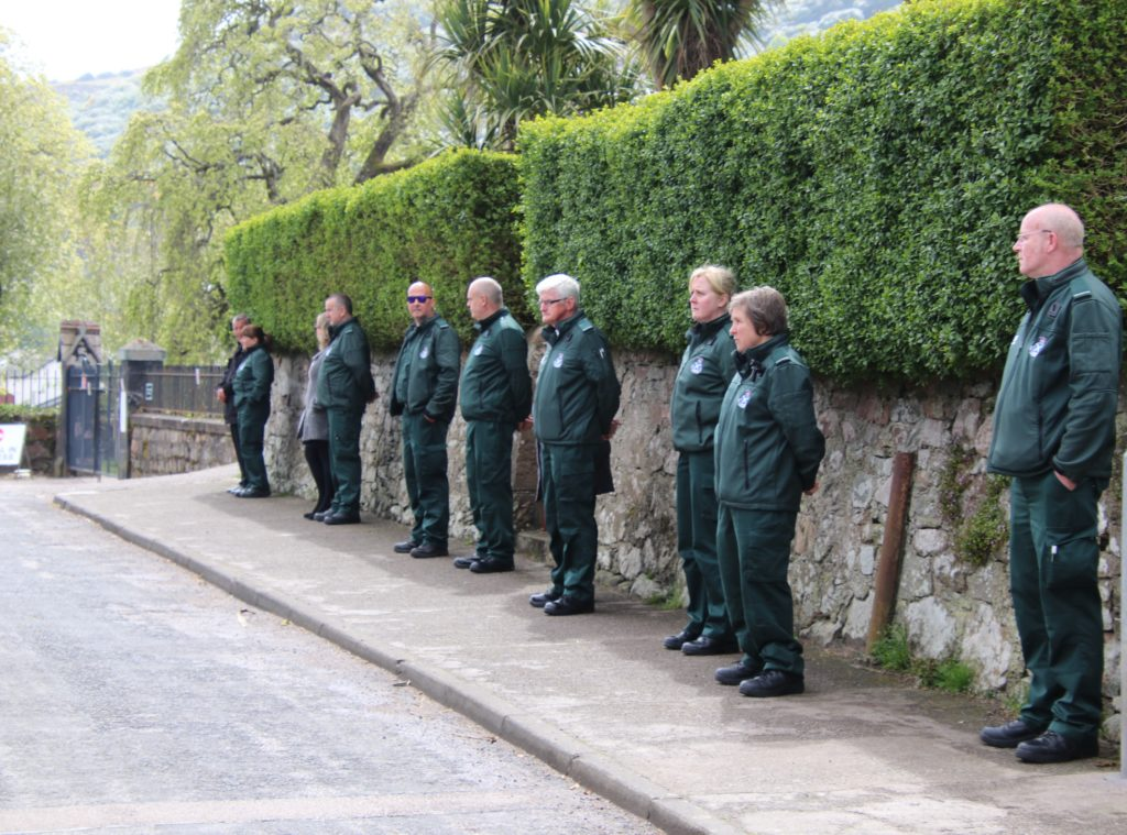Robert's colleagues from the Scottish Ambulance Service stood at the entrance to Kilkerran Cemetery, where Robert was laid to rest.