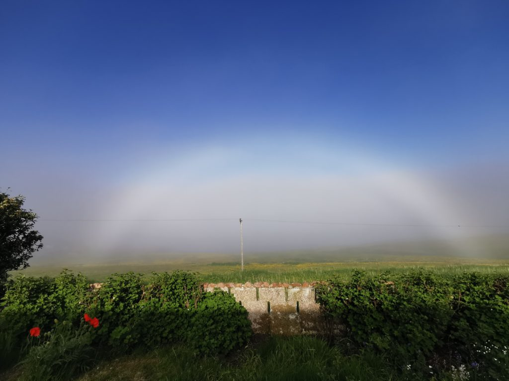 Christyne Dunk from North Roe, Shetland, took this photo of a rare 'fogbow' or white rainbow from her parents' garden at Newton, Skea, Northmavine, during a social distancing birthday visit.