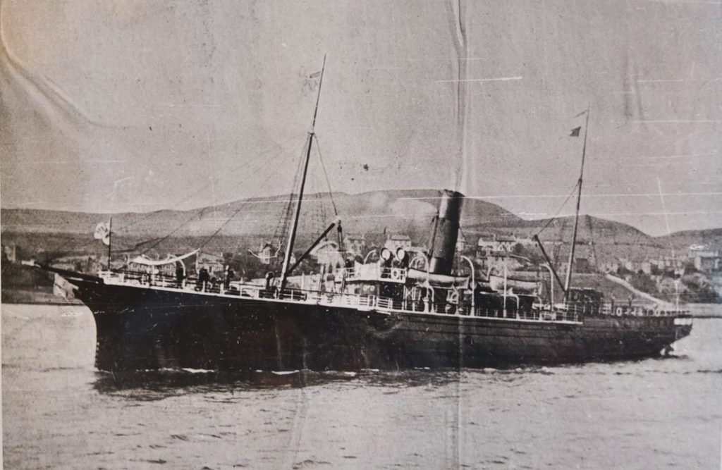 This photograph shows an unknown vessel in Campbeltown Loch. There is no indication of the date.