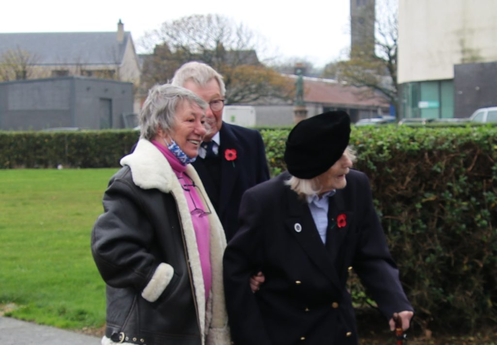 World War Two veteran Mrs Ailsa Stewart, age 105, with her son Patrick, former Lord Lieutenant and his wife Mary-Ann.