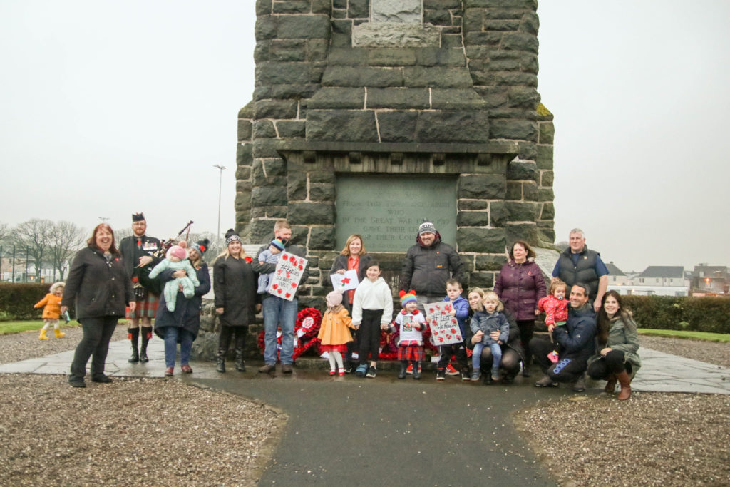 Emelie was met at the War Memorial by her grandparents, friends and family.