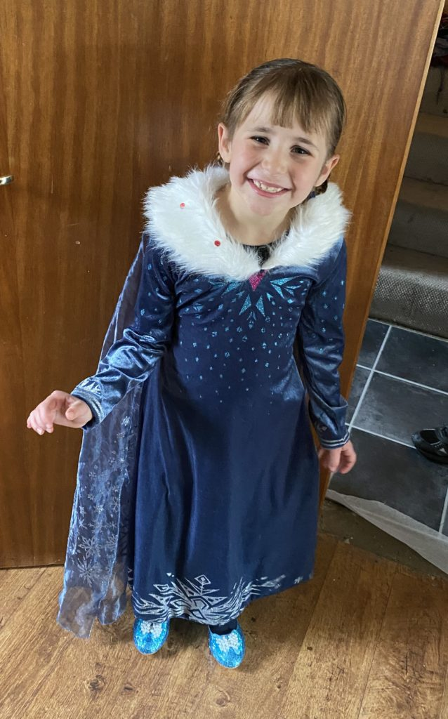 Alexandra Black, aged six, from Campbeltown, dressed as Anna from the Disney movie Frozen.