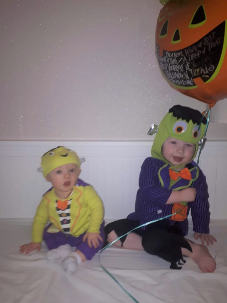 Two-and-a-half-year-old Emelie Willis and her little brother George, seven months, from Campbeltown, a couple of little Hallowe'en monsters.
