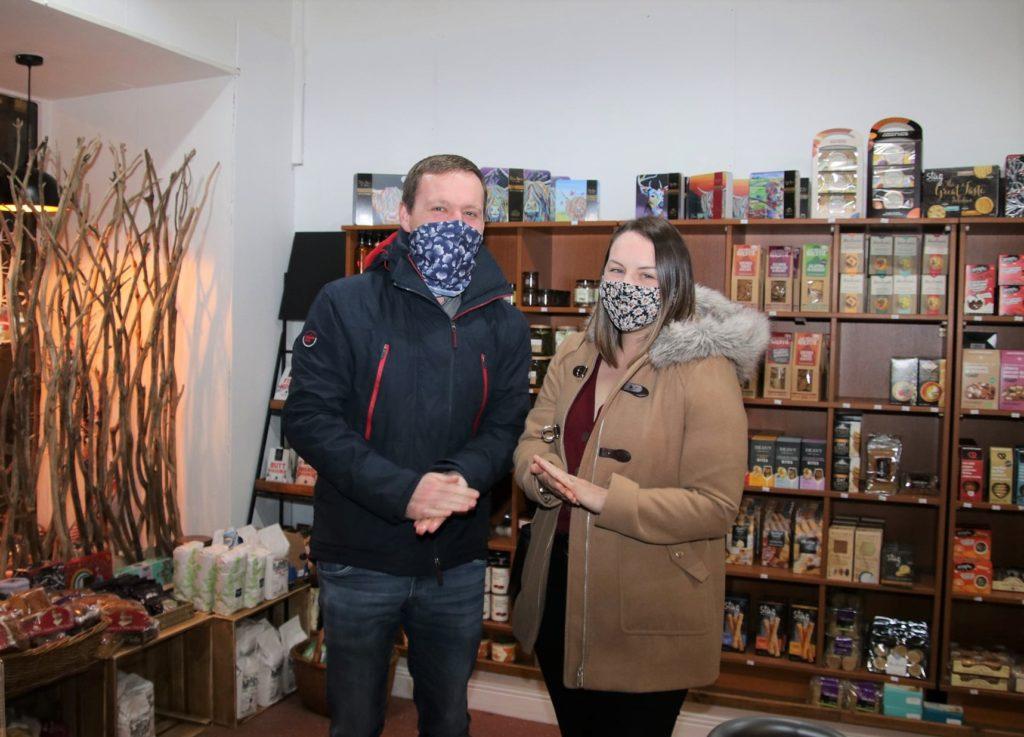 John Martin and Kelly Brodrick enjoying some late-night shopping in The Kintyre Larder.