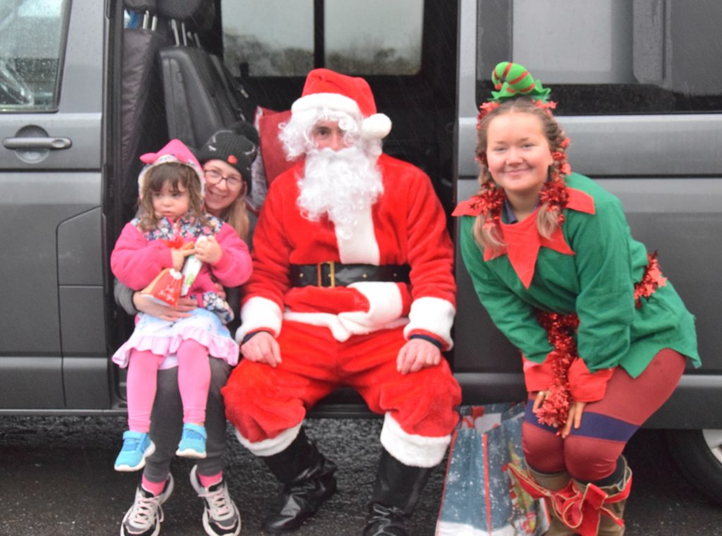 Naeve McNeill and her mum Frances said hello to Santa.