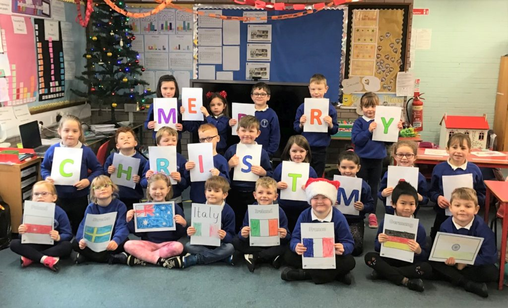 Castlehill Primary School's P2 class wished everyone 'Merry Christmas'.
