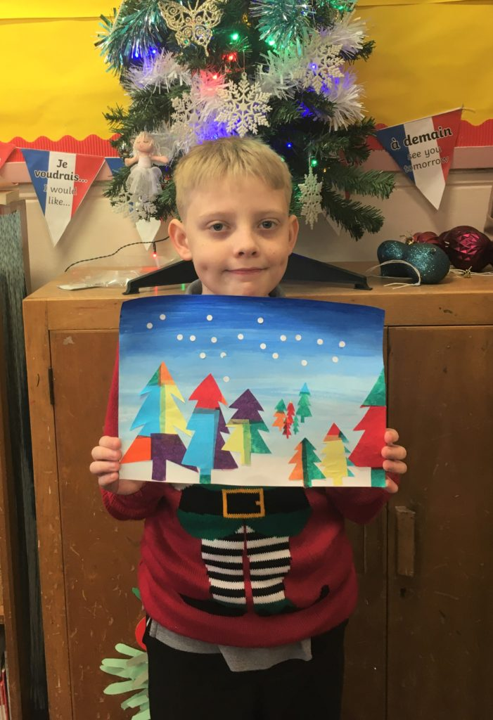 Dalintober Primary School's P7/6 class created colourful stained glass winter scenes.