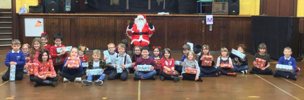 Castlehill Primary School's P2 pupils enjoyed a visit from Santa.