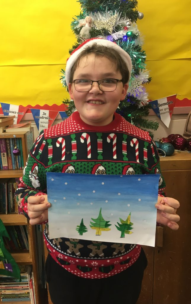 Another colourful stained glass winter scene from a P7/6 pupil at Dalintober Primary School.