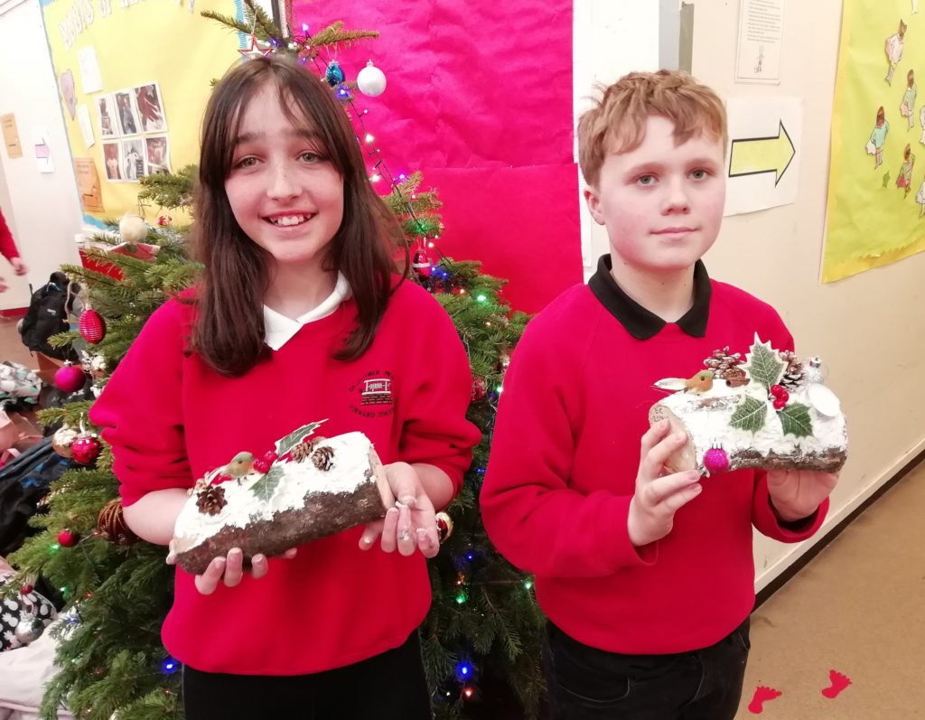 More of Dalintober Primary School's P7 pupils with their 'super' Christmas logs.