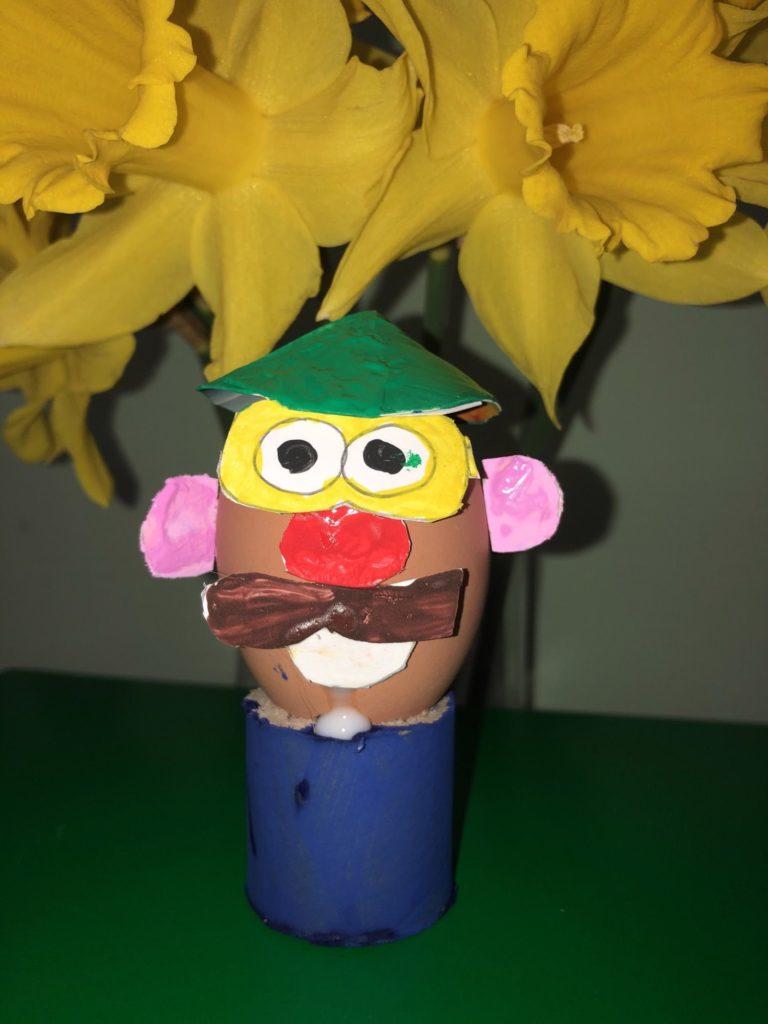 An egg disguised as Mr Potato Head.
