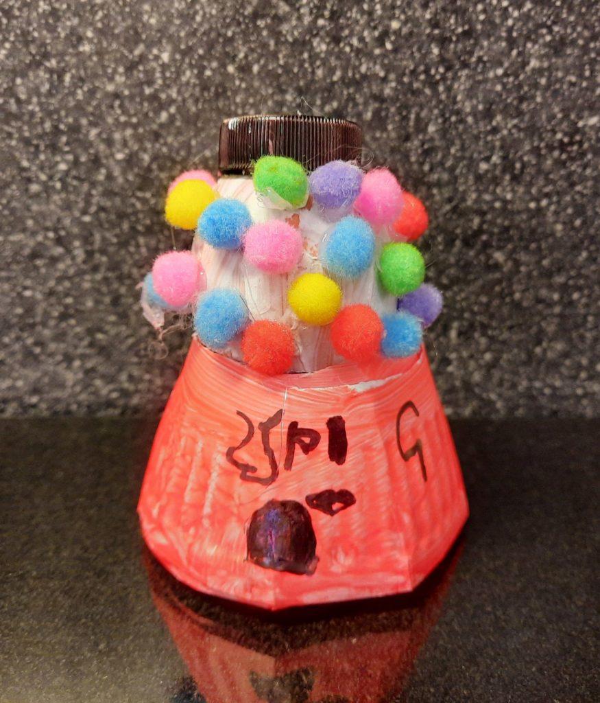A creative gumball machine egg.