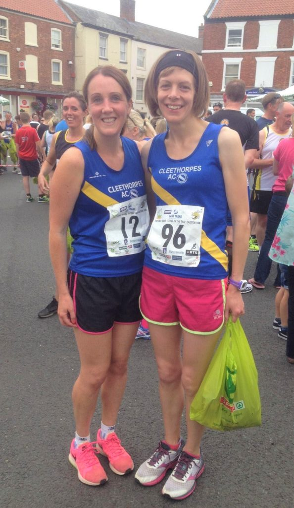 Sarah McFadzean, fourth female finisher in the eight-mile race and third in the veteran female category, left, with her friend Sarah Edwards, who was the overall winner of this year's 5K race. Sarah Edwards is a member of Cleethorpes Athletics Club, of which Sarah McFadzean used to be a member. They are photographed together after placing first in the ladies' team category at the 2015 Sting in the Tail Caistor 10K in Lincolnshire.